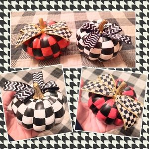 2 hand painted checked pumpkins red black w